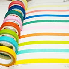 Climberty (10) Rolls of Rainbow Washi Tape Masking Tape Set 10 Bright Solid Colors, Fun for Scrapbooking, Journaling, Cards, DIY, Arts & Crafts