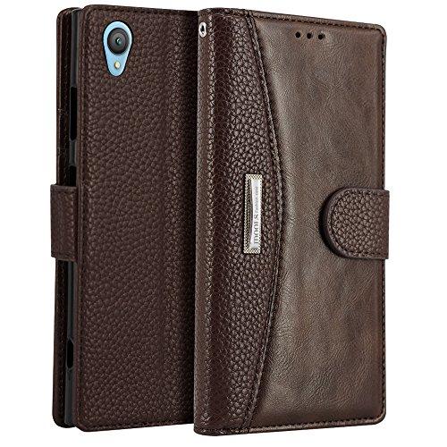 Sony Xperia XA1 Plus Hülle, IDOOLS Leder Handyhülle mit Kartensteckplatz, Magnetisch Flip Brieftasche, Handyständer Funktion - Braun