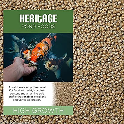 HERITAGE HIGH GROWTH PREMIUM KOI FISH FOOD PELLETS GARDEN POND FEED HIGH PROTEIN GROWER (1kg) 1
