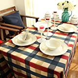 HYBeibei Linen & Cotton Tablecloth Wipe Clean Rectangle Plain Linen Dining Table Cloth Table Linen for Dining Room Kitchen Hotel Cafe Restaurant 130*130cm