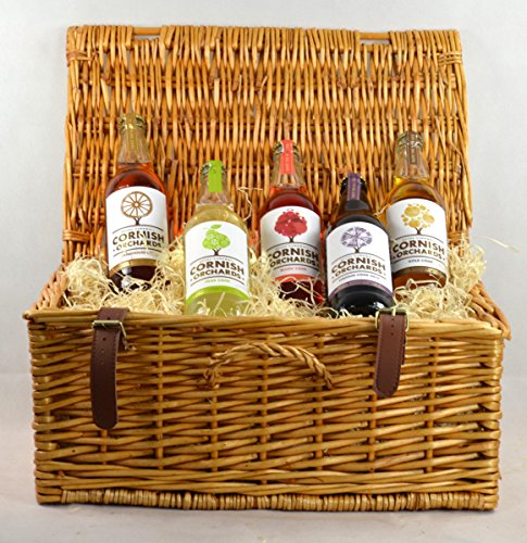 Cornish Orchards Cider Hamper In A Wicker Hamper Basket