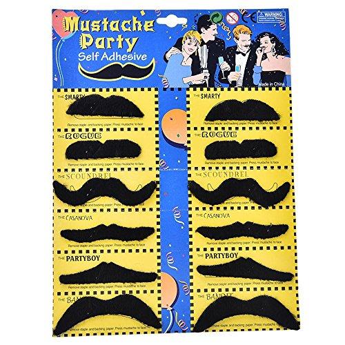 thematys 12x falscher Schnurr-Bart zum Ankleben schwarz - Kostüm für Erwachsene & Kinder - perfekt für Fasching, Karneval & Weihnachten - Universal Damen Herren
