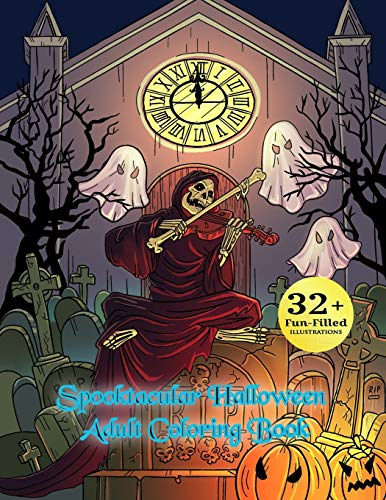 en Adult Coloring Book: Autumn Halloween Fantasy Art with Witches, Cats, Vampires, Zombies, Skulls, Shakespeare and More ()