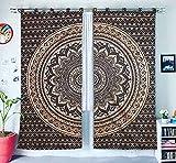 GANESHAM HANDICRAFTS - Indische Mandala Tapisserie Vorhänge Hausdekor Dekorative Vorhänge Boho Vorhänge Indische Vorhänge Baumwolle Fenster Vorhänge Schlafzimmer Vorhänge Handgemachte Vorhänge