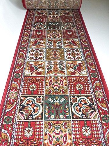 Teppich Läufer nach Maß Rot Felder 645 lfm. 11,90 Euro Breite 60 x 200 cm