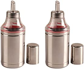 Dynore Stainless Steel Oil Dropper Set, 1 Liter, Set of 2, Silver
