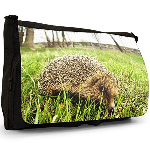 Puntura Riccio–Borsa Tracolla Tela Nera Grande Scuola/Borsa Per Laptop Hedgehog On Grass
