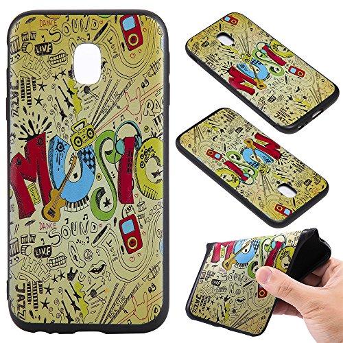 Ooboom® Samsung Galaxy J7 2017 Hülle TPU Silikon Prägen Weich Handy Tasche Case Cover Flexibel Bumper Ultra Dünn Slim für Samsung Galaxy J7 2017 - Musik