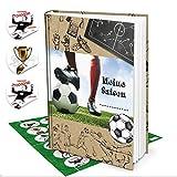Geschenk-SET Fußball-Buch Geschenk Fußballer Jungen MEINE SAISON + 24 runde Fußball-Aufkleber Sticker Album als Geburtstagsgeschenk Geschenkidee Fußballspieler