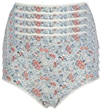 Ex-Store Multipack Cotton Full Briefs Knickers 5 Pack Blue + Coral Flower 22
