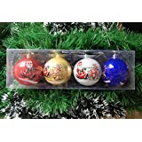 Gifts Online Santa Print Big Size Christmas Tree Decoration Balls - Pack Of 4