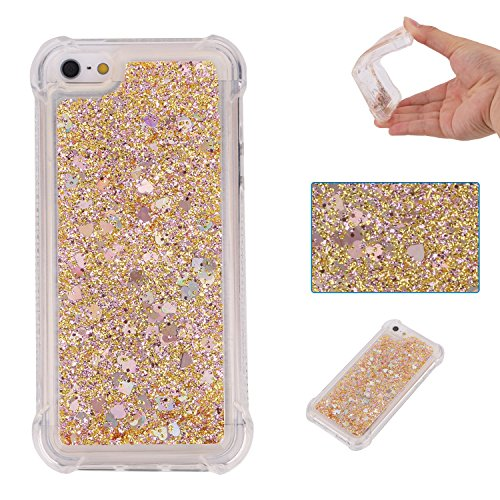 Liquid Case for Huawei P8 Lite 2017,Floating Case for Huawei P8 Lite 2017,Leeook Luxury Beauty Bling Shiny Sparkle Glitter Cover Gold Love Heart Quicksand Flowing Creative Design Crystal Transparent Clear Plastic Soft TPU Protective Shock Proof Shell Case