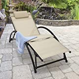Trueshopping Cayman Adjustable Sun Lounger - Beige Reclining Garden Sunlounger Chair with Aluminium Frame and Weatherproof Fabric - Headrest and Footrest - Lightweight