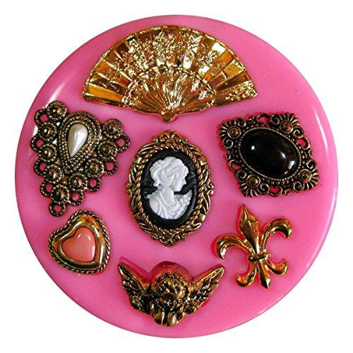 Weinlese Viktorianische Miniatur Brooch Fleur de Lys Cherub Silikon Form für Kuchen Dekorieren, Kuchen, kleiner Kuchen Toppers, Zuckerglasur Sugarcraft Werkzeug durch Fairie Blessings -