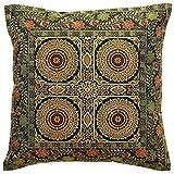 DK Homewares Brokat Bohemian Schwarz Schlafzimmer Throw Pillow deckt 40 x 40 cm Brokat Jacquard Mandala Floral Square Dekokissen Covers 16 x 16 Home Decor Einzelstück