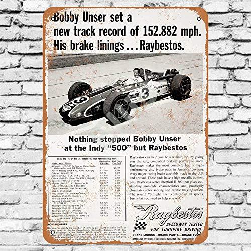Ellis 1968 Raybestos Pastiglie Freno Bobby Unser Indianapolis 500 Vintage Retro Metallo Targa Decorazione da Parete per Store Man Cave Bar Casa G