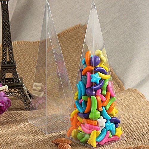 50 Scatola Triangolo Cono Porta confetti Porta Petali In PVC Trasparenti 5*5*16cm