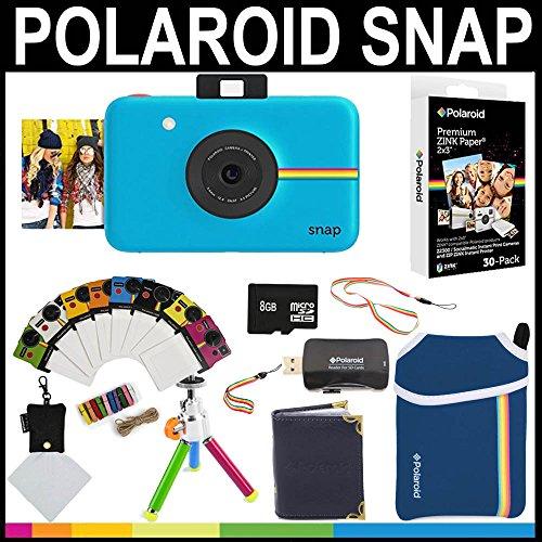Polaroid - Fotocamera istantanea Snap (Blu) + 30 fogli di carta zincata 2x3 + custodia in neoprene + cornici fotografiche + album fotografico + scheda di memoria da 8GB + pacchetto accessori - 3x3 Cornice