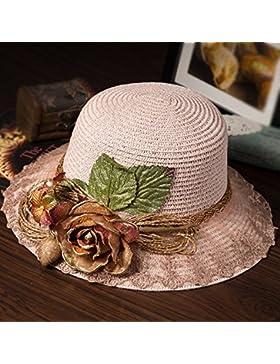 femminile estate pizzi a mano paglietta ombra berretto sunhat all'aperto spiaggia cappello ( Colore : 4 )