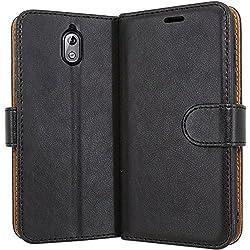 """Case Collection Hochwertige Leder hülle für Nokia 3.1 Hülle (5,2"""") mit Kreditkarten, Geldfächern und Standfunktion für Nokia 3.1 Hülle"""