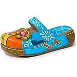 gracosy damsandaler, sommar läder toffel vintage toffel rygg träskor färgglada blommor skor mjuk bekväm