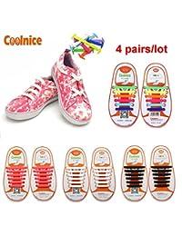 Coolnice® 4 pares para Niños cordones elásticos planos zapatillas de silicona impermeable ambientalmente seguro Limpiar DIY divertido 4 Color 4 X 12pcs