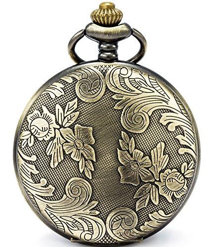 SEWOR Blumen Fall Shell Zifferblatt Japanisches Quarz-Uhrwerk Taschenuhr mit Fashion Double Kette (Metall & Leder) (Messing)
