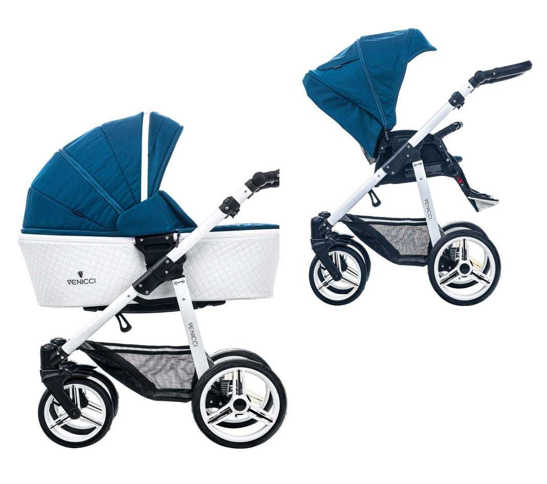 Venicci Pure 2-in-1 Travel System - Ocean Blue - with Carrycot + Changing Bag + Apron + Raincover + Mosquito Net + 5-Point Harness and UV 50+ Fabric + Cup Holder Venicci 2-in-1 Pram and Pushchair with custom travel options Suitable for your baby from birth until approximately 36 months 5-point harness to enhance the safety of your child 1