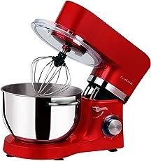 Cookmii Geräuschlos1500W Küchenmaschine Rührmaschine Knetmaschine 6 Geschwindigkeit 5,5 L mit Edelstahlschüssel Teigmaschine