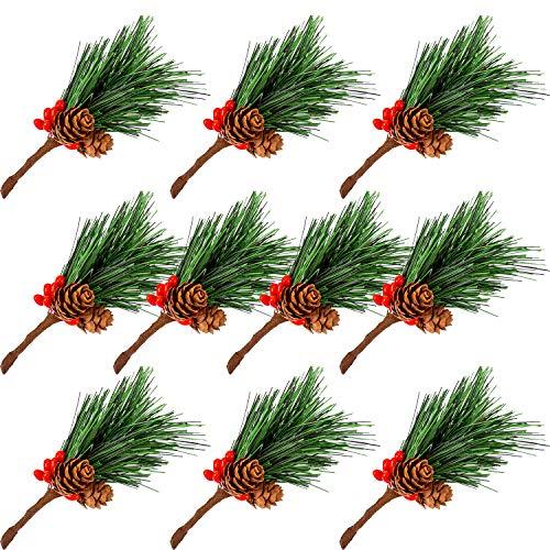Aiex 10 pezzi ramo di pino artificiale natalizio deco con bacche rosse - rami e fiori decorativi per ghirlanda di natale fai da te, decorazioni natalizie - 9 cm