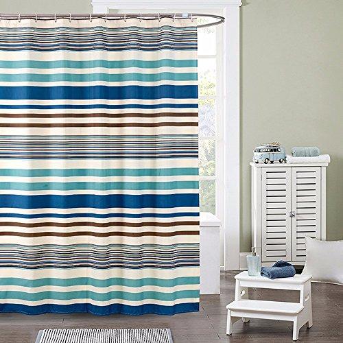 Qingv A strisce orizzontali impermeabile in poliestere addensata tenda doccia bagno blu opaco tenda parasole,240*200 cm
