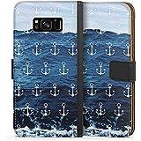 Samsung Galaxy S8 Tasche Hülle Flip Case Anker Meer Sommer