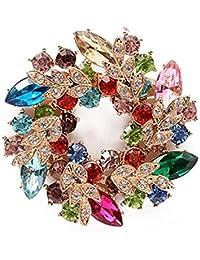 Hosaire Broche de la Guirnalda Diamantes 52X52mm Broches y Prendedores Retro Pin Ramillete Acero Inoxidable para el Banquete de Boda
