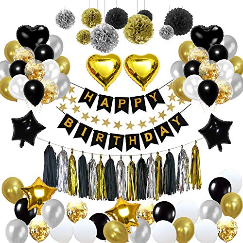 Yoart Schwarz und Gold Party Dekorationen, Geburtstag Dekorationen mit Happy Birthday Banner Konfetti Latex Ballons Star Herz Folie Ballons für 18. 21. 30. 40. 50. 60. 70. ()