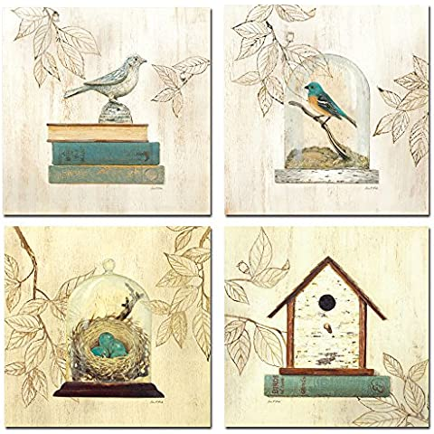 Moderno design Bird-Decorazione da parete, Stampa su tela, 4 pannelli non Oil Paintings con ogni pezzi taglia 30,48 x 30,48 (12