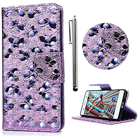 Sony Xperia XA Case, Stylish [Butterfly] 3D Design Premium PU Leather Wallet Flip Cover Magnetic Clasp Protective Shell Kickstand Card Cash Slots With 1 x Stylus Pen For Sony Xperia XA - Pale