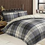 Rapport Check blau weiß Einzelbett Bettbezug & Kissenbezug Bettwäsche-Set New