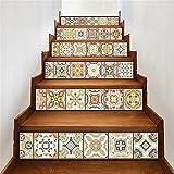 LTTSTD Treppen-Aufkleber 3D DIY Refurbished Fliesenaufkleber Entfernbar Wasserdicht Arabien Fliesen Treppen Dekoration 6 Teile/Satz 18 cm x 100 cm, C