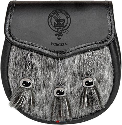 Purcell Semi Dress Sporran Fur Plain Leather Flap Scottish Clan Crest