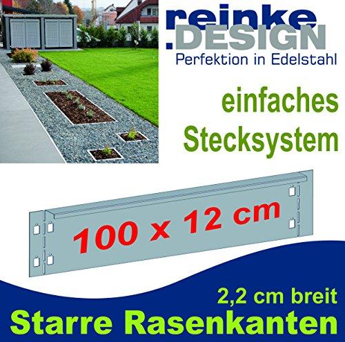 Reinkedesign Rasenkante aus Edelstahl starr 100 cm x 12 cm mit Sichtkante