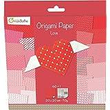Decopatch - OR500O - Avenue Mandarine - Origami Paper Love - 20 x 20 cm - 60 Feuilles - 70 g
