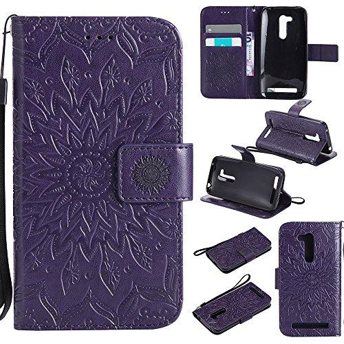 Für Asus Zenfone ZB452KG Fall, Prägen Sonnenblume Magnetisches Muster Premium Weiche PU Leder Brieftasche Stand Case Cover Mit Lanyard & Halter & Card Slots ( Color : Pink ) Purple