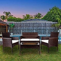 Idea Regalo - YOUKE 4 Pezzi in Rattan mobili da Giardino Divano Set di tavoli e sedie da Giardino, Veranda - Brown