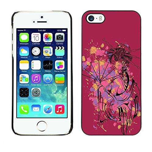 GIFT CHOICE / Schlank Hart Schutzhülle Tasche Hülle HandyHülle Slim Hard Protective Case SmartPhone Cover for iPhone 5 / 5S // Der Nettes sexy Geisha-Frau //