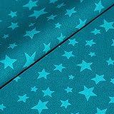 Sterne Baumwollstoff Meterware gemustert türkis aqua blau Stars Baumwolle Bezugs- Deko Stoff mit Sternen Preis pro Meter