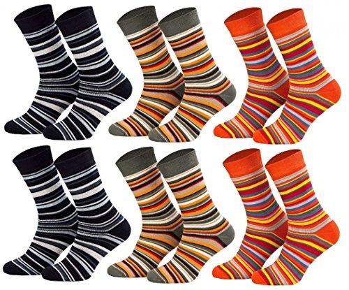 Tobeni 6 Paar Kindersocken Ringel mit Frotteefutter Thermo Socken bunt grün orange blau Grösse 23-26 Farbe 2x Marine 2x Khaki 2x Terrakotta (Dicke Streifen Socken)