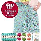 häkeln für baby: Myboshi Häkel-Set Babydecke mit Pünktchen 64cm x 67cm: 8 x Wolle Lieblingsfarben No.2 + Häkelanleitung + Häkelnadel + selfmade Label Wollfarben (Meerblau Rouge Limettengrün Magenta)