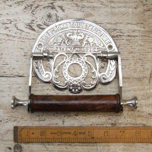 hardware-for-you-ltd-crown-chrome-on-cast-iron-toilet-roll-wall-mounted-holder-antique-repo-vintage
