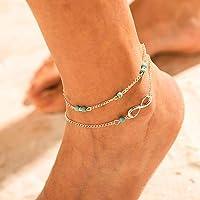 Forall Cavigliera Con Perline d'Argento Braccialetto Alla Caviglia Turchese Delicato Estivo Gioielli Boho Catena Da…