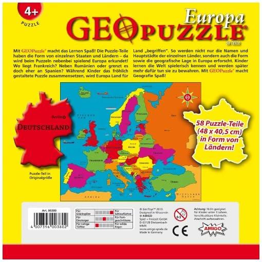 Amigo-00380-GeoPuzzle-Europa-58-Teile